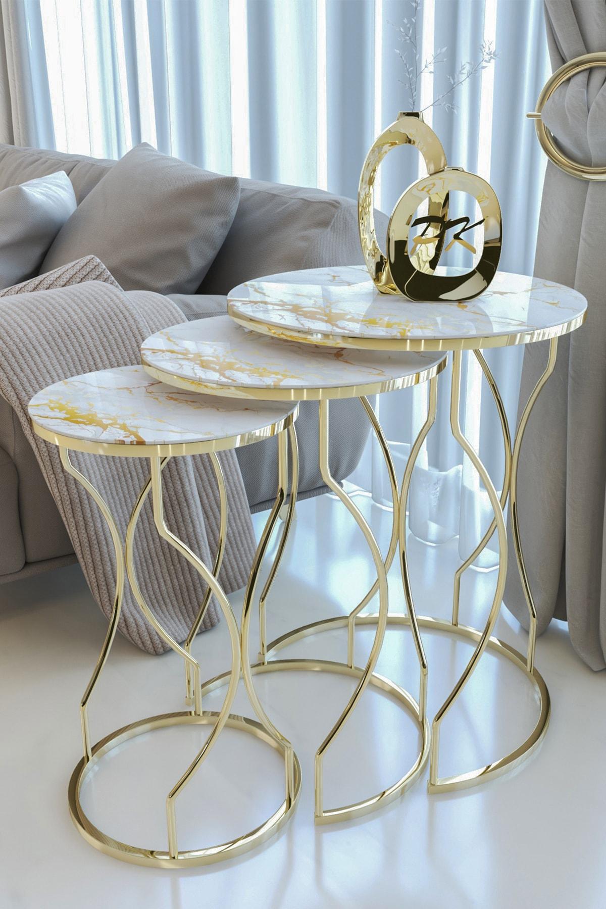Kırılmaz Camlı Gold Rüya Model Zigon Sehpa Takımı ( Mermer Desenli)