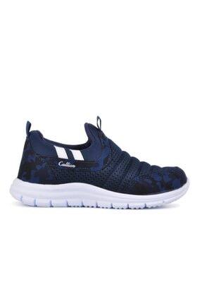 1006 Lacivert Kamuflaj Hafif Bağcıksız Çocuk Spor Ayakkabı resmi