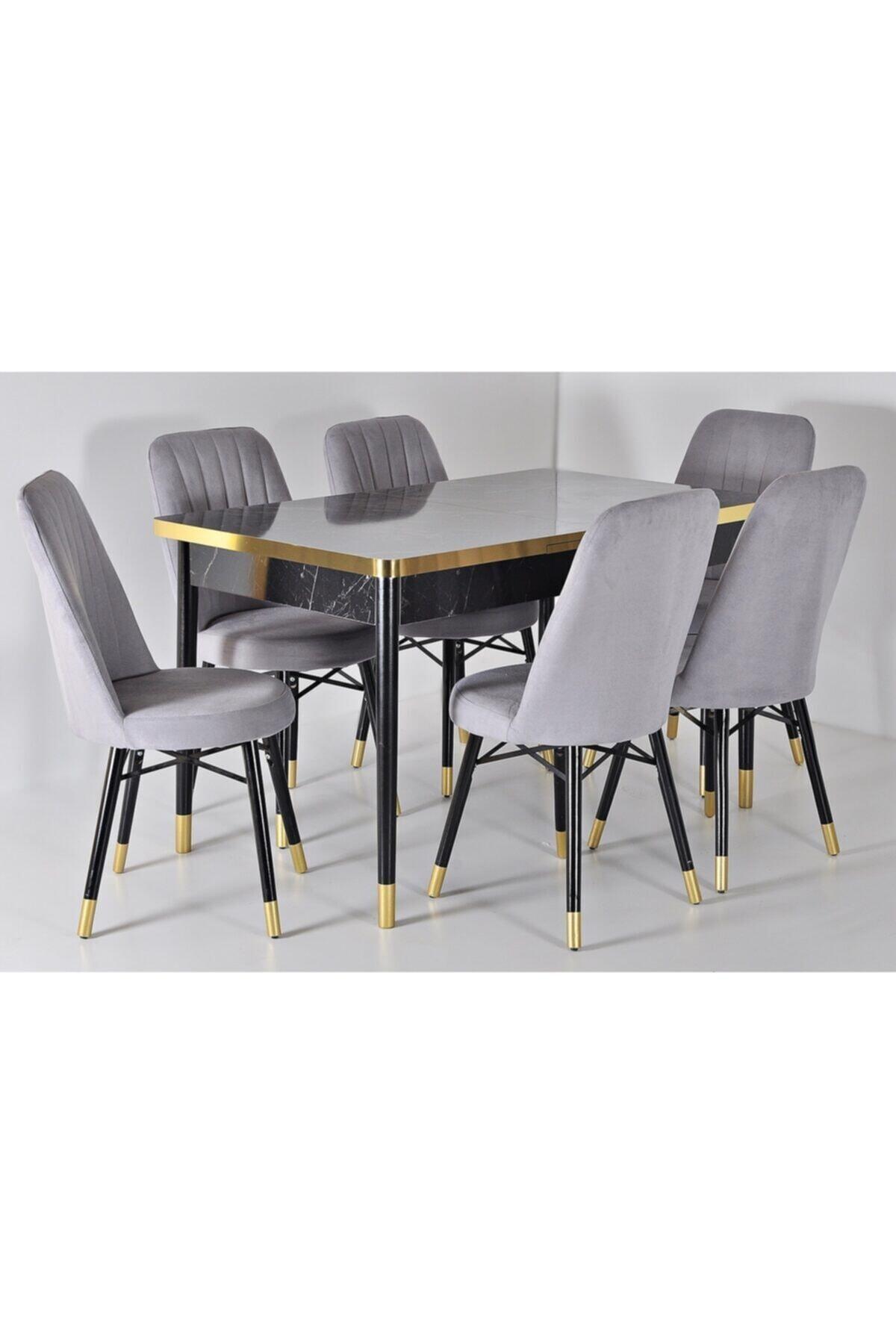 Açılır Ahşap Masa Sandalye Takımı 6 Kişilik