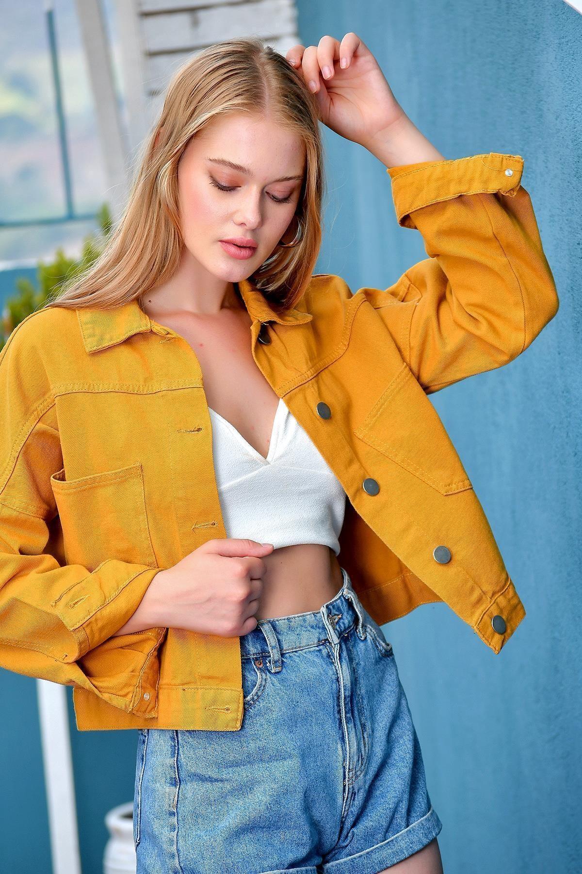 Kadın Hardal Crop Denim Ceket Smd-x3631-rv