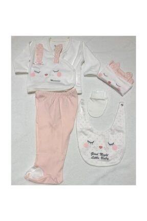 Miniworld Kız Bebek Uyuyan Tavşan 5'li Hastane Çıkışı Zıbın Set 1