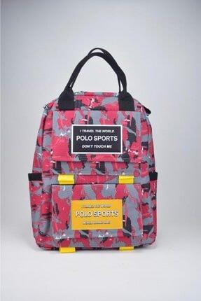 Madame Kırmızı Kamufülaj Çanta Sırt Çantası Öğrenci Laptop Çantası MDM100-SIRT