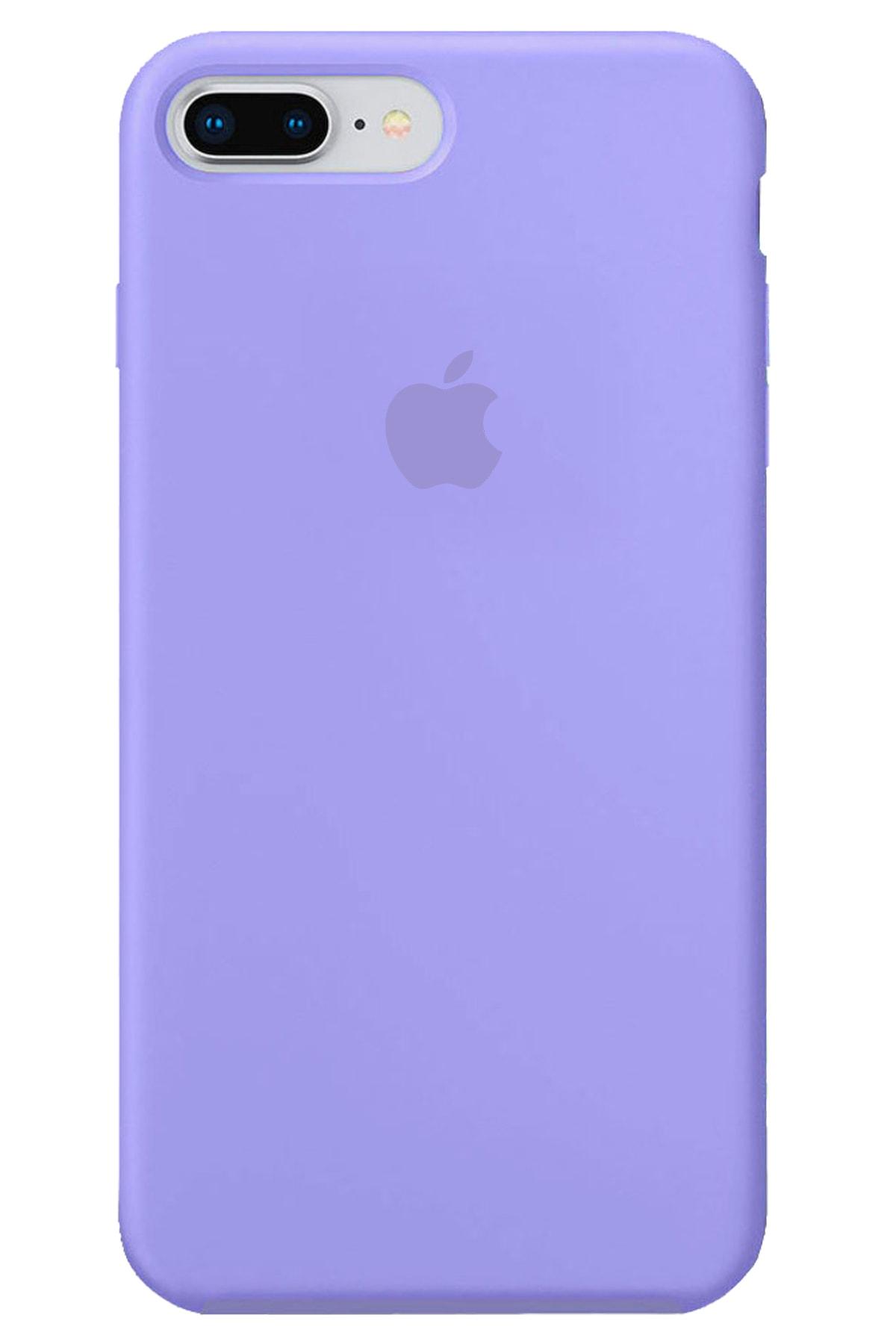 Iphone 8 Plus Kılıf Logolu Lansman Altı Kapalı Içi Süet - Lila + Popsocket