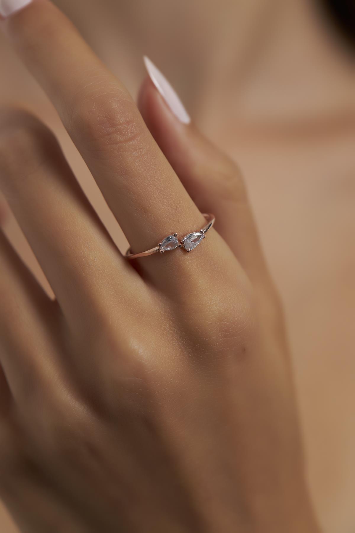 Ninova Çapraz Damla Model Rose Kaplama Gümüş Yüzük