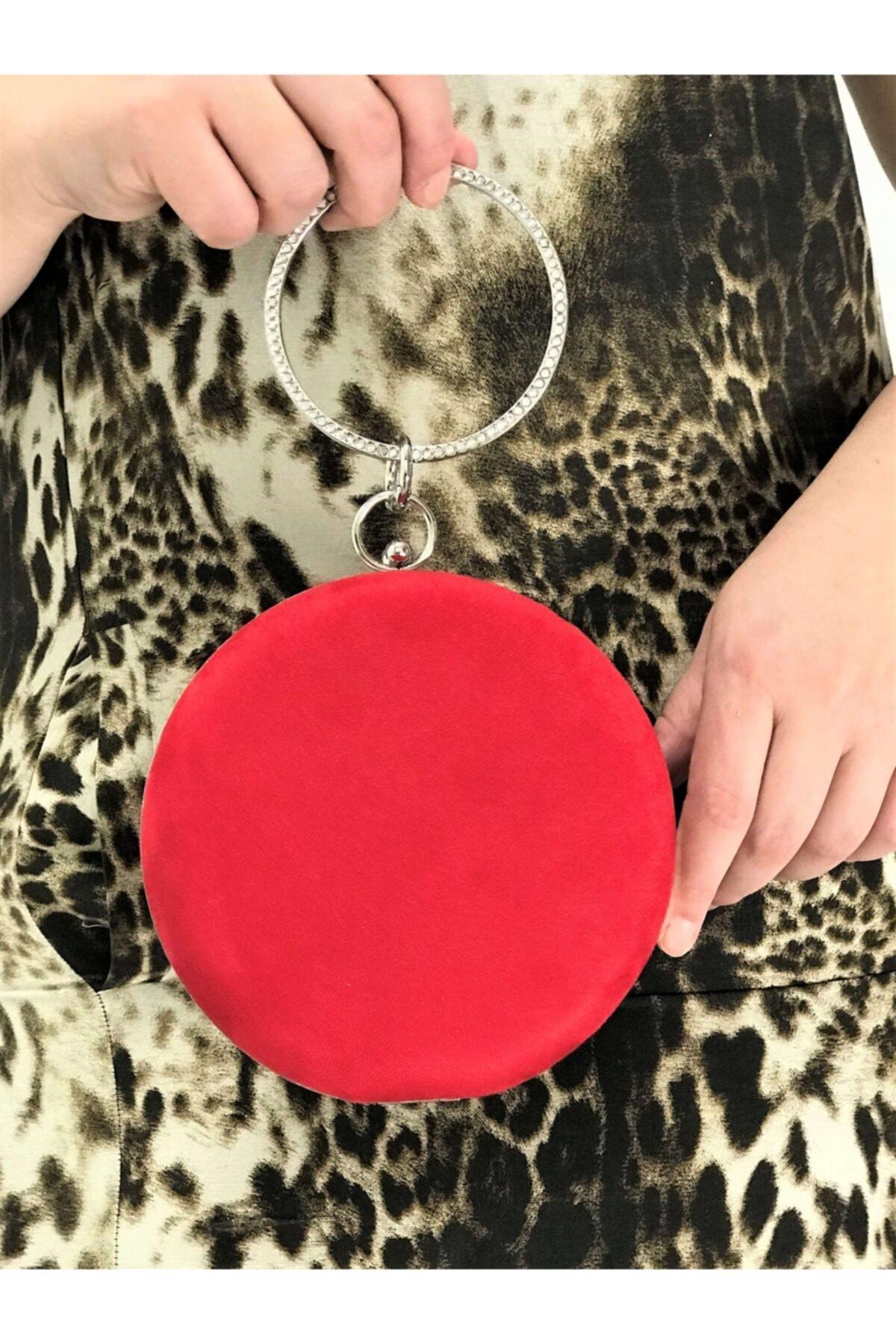 Kadın Kırmızı Renk Süet Taşlı Işlemeli Abiye Portföy Clutch Çanta