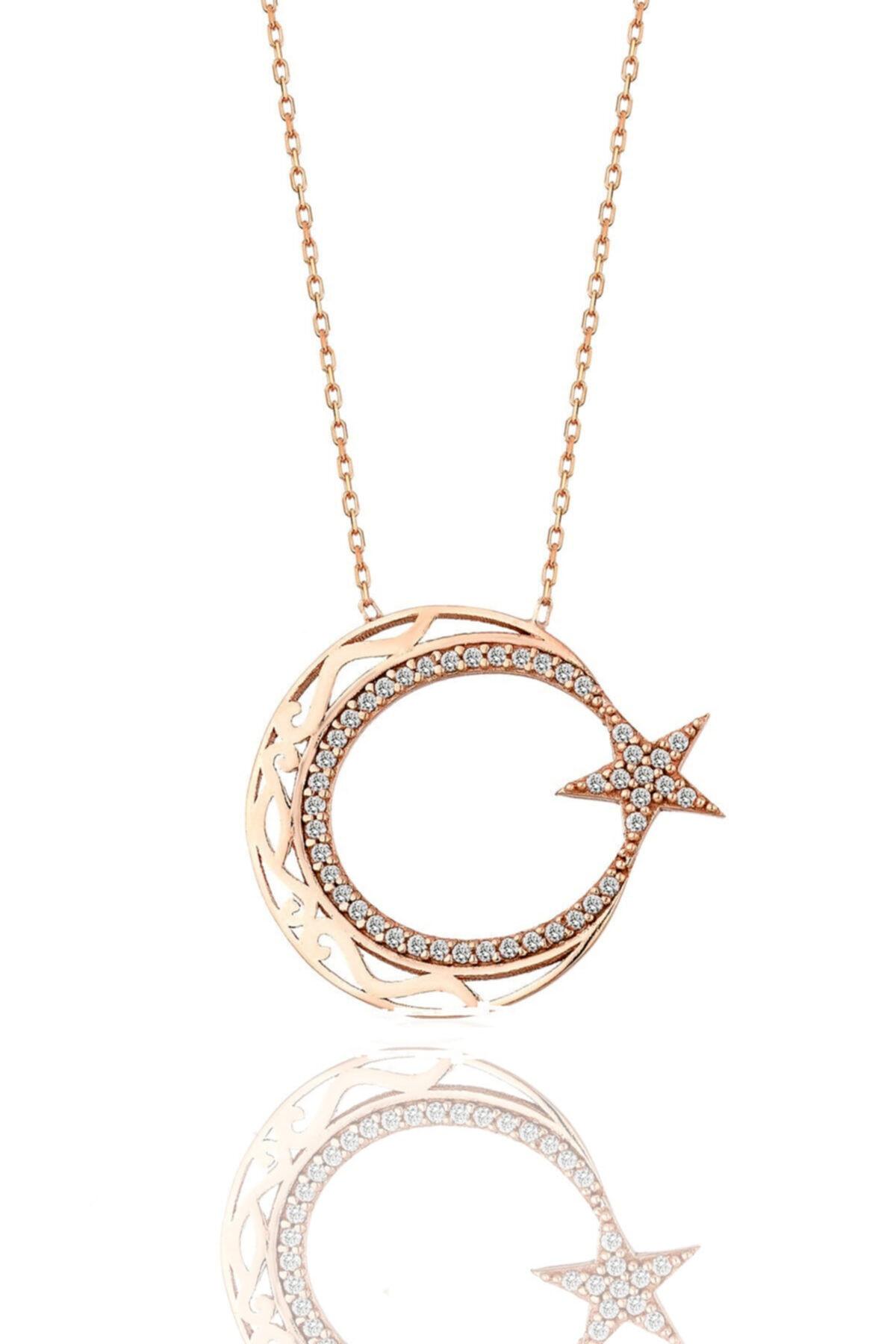 Gümüş Rose Zirkon Taşlı Ayyıldız Modeli Rose Gümüş Kolye