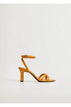 Mango Kadın  Timsah Derisi Desenli Topluklu Sandalet 1