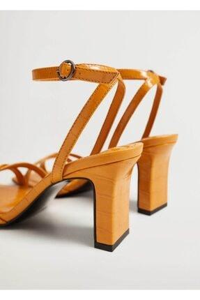 Mango Kadın  Timsah Derisi Desenli Topluklu Sandalet 2