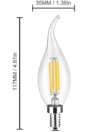 LAMBAM Rustik Led Ampul 4w E14 Ince Duy Gün Işığı 2700k 10 Adet Kıvrık Mum Ampul 1