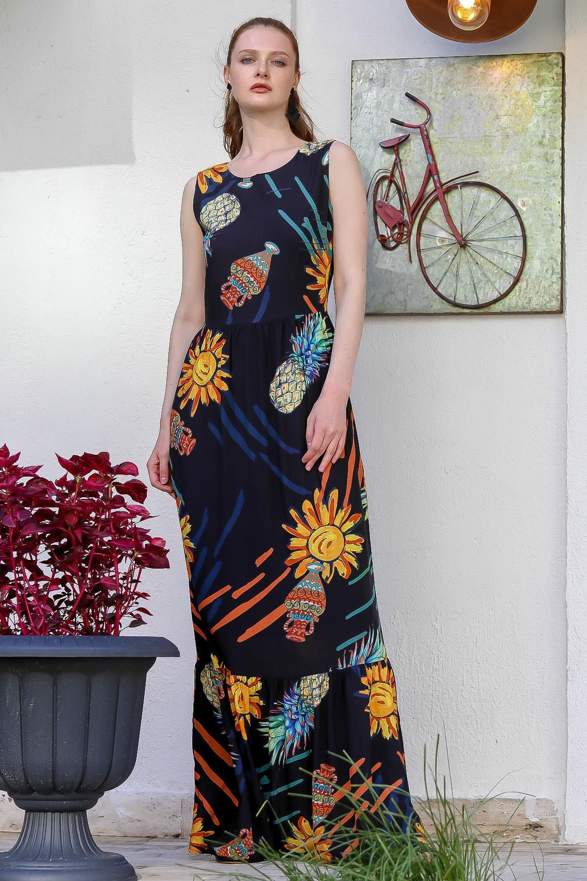 Chiccy Kadın Siyah Sıfır Yaka Ananas Desenli Astarlı Fermuarlı Dokuma Uzun Elbise M10160000El94772 3