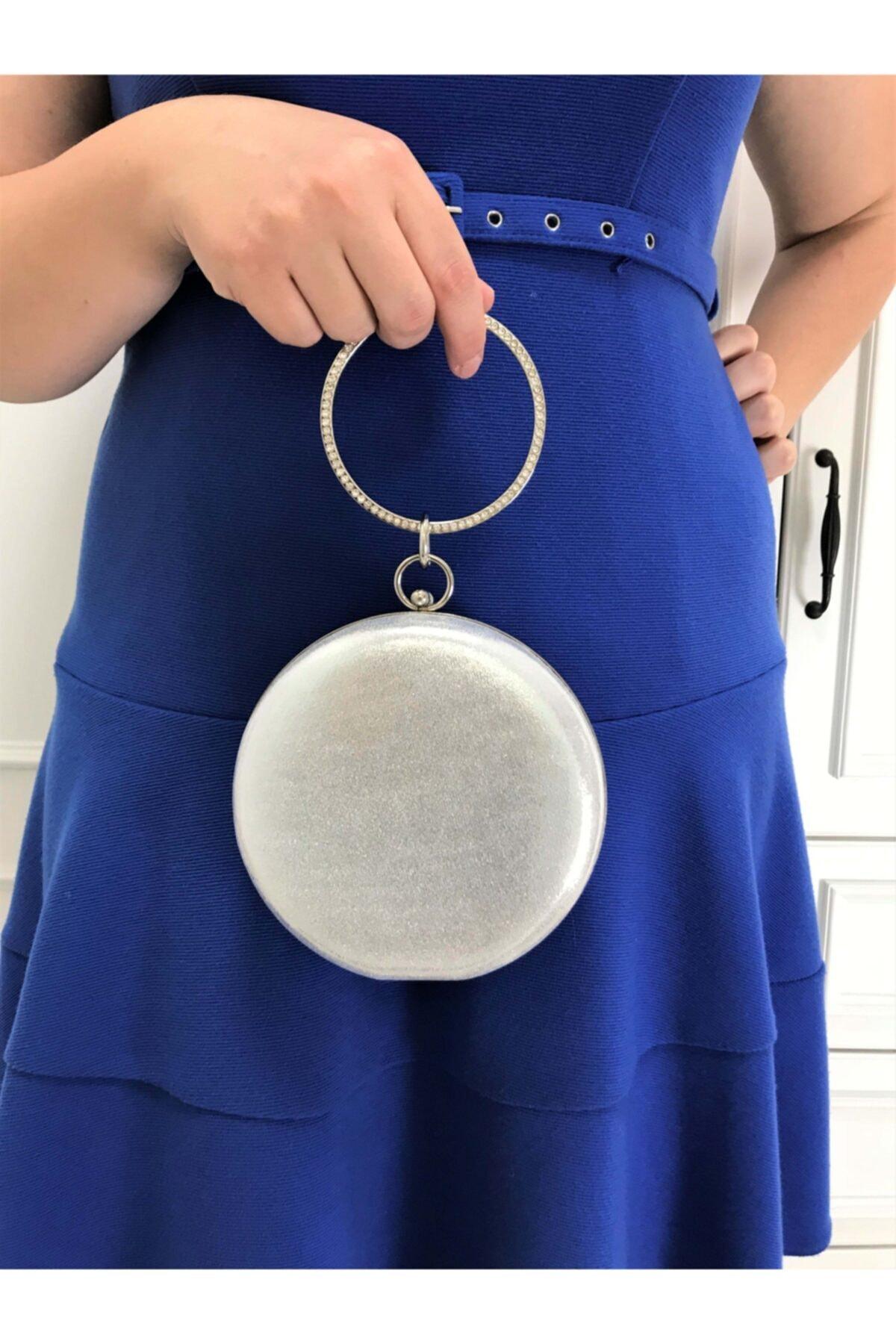 Gümüş Renk Sıvama Taşlı Işlemeli Kadın Abiye Portföy Clutch Çanta