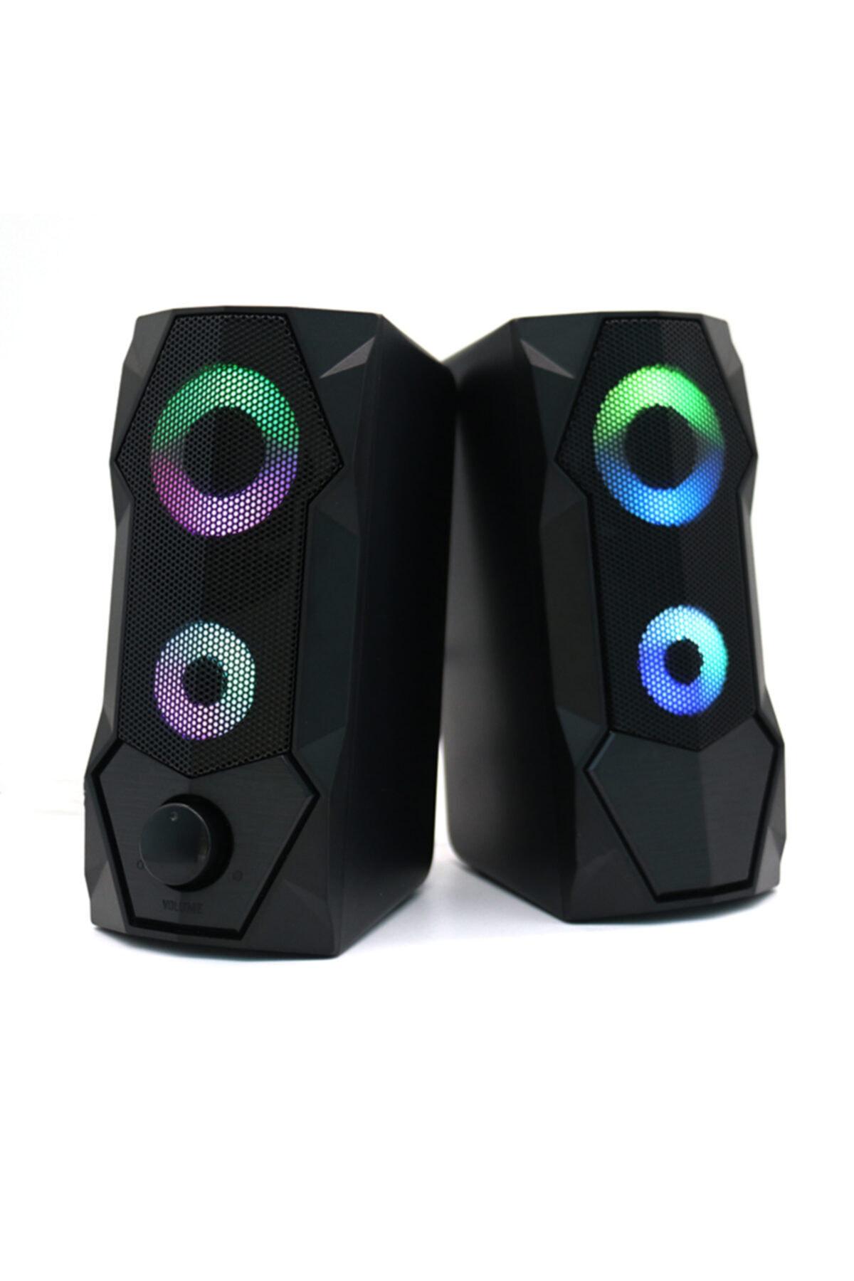 Bilgisayar Hoparlörleri Rgb Işıklı 2.0 Usb Oyun Stereo Kablolu Pc Hoparlör 3.5mm Aux Girişi