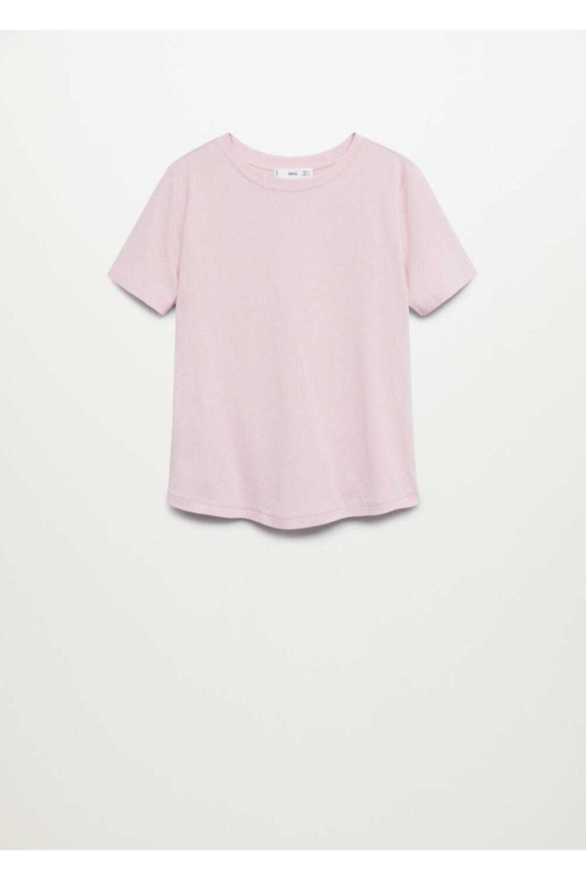 Mango Kadın Pembe Organik Pamuklu Basic Tişört