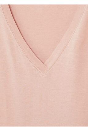 Mango Kadın Şeftali V Yakalı Pamuklu Tişört 4