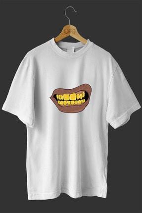 Altın Dişi Tasarım Baskılı Oversize T-Shirt T2