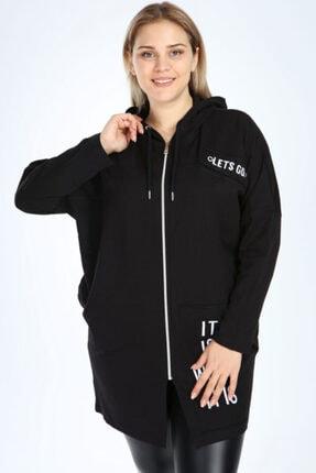 Picture of Kadın Siyah Büyük Beden Spor Giyim Fermuarlı Kapüşonlu Sweat