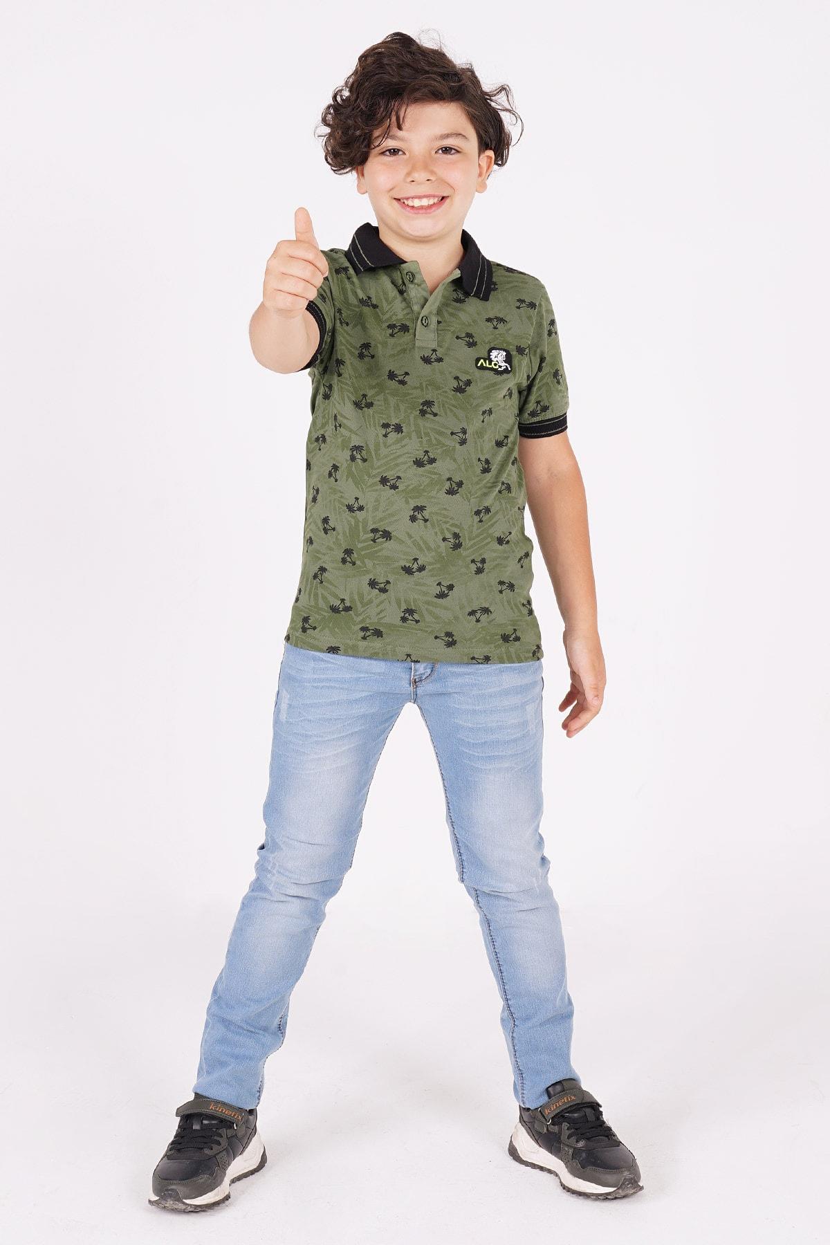 Erkek Çocuk Polo Yaka T-shirt Palmiye Baskılı 3-12 Yaş