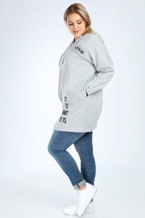 Picture of Kadın Gri Spor Giyim Fermuarlı Kapüşonlu Büyük Beden Sweatshirt