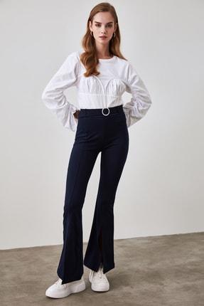 TRENDYOLMİLLA Lacivert Taşlı Kemerli Yırtmaç Detaylı Örme Pantolon TWOSS20PL0100 1