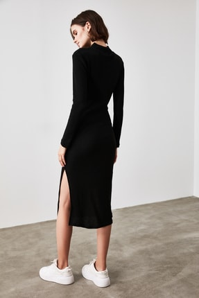 TRENDYOLMİLLA Siyah Fitilli Bodycon Midi Örme Elbise TWOAW21EL0135 4