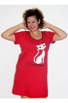 BBG Kadın Kırmızı Büyük Beden Gecelik Kedi Baskılı 0