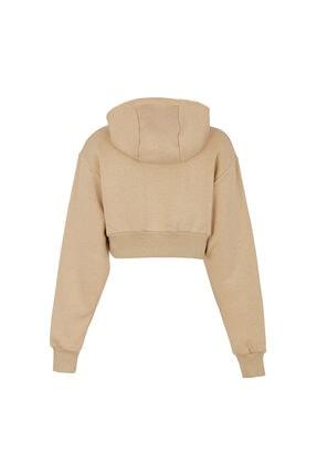 Fineapple Kadın Bej Kapüşonlu Crop Sweatshirt 1