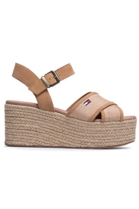 Tommy Hilfiger Kadın Kahverengi Dolgu Topuk Sandalet En0en00910-gqe 0