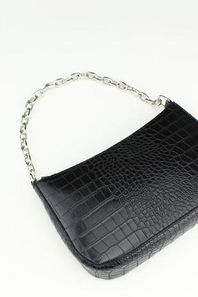 Housebags Kadın Siyah Timsah Görünümlü Baguette Çanta 192 3