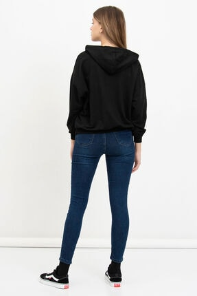Mossta Kadın Siyah Meow Baskılı Sweatshirt 3