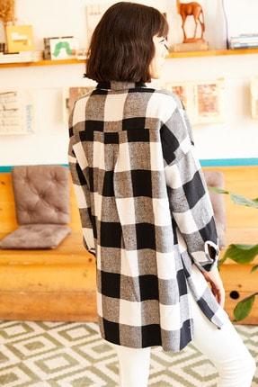Olalook Kadın Siyah Çift Cepli Yanı Yırtmaçlı Oversize Oduncu Gömlek GML-19000719 1