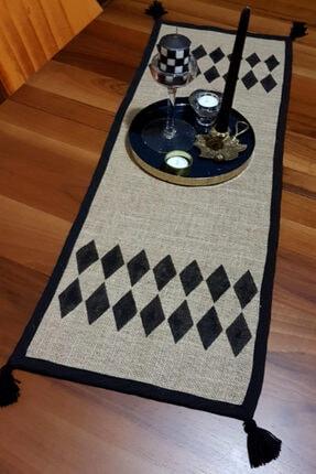 DEKOPOOD Bg Home Couture Handmade Baklava Desenli Püskül Detaylı Jüt Runner 40x130cm 1