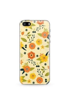 Zipax Apple Iphone Se Kılıf Sarı Çiçekler Desenli Baskılı Silikon Kılıf 0
