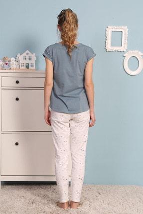 Vienetta Kadın Gümüş Kısa Kol Normal Beden Pijama Takım 3