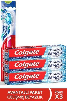 Colgate Gelişmiş Beyazlık Beyazlatıcı Diş Macunu 3 X 75 Ml + Üçlü Etki Diş Fırçası 0