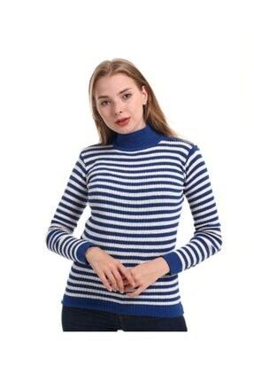 Modaesila Kadın Mavi Çizgili Yarı Balıkçı Yaka Kazak 1