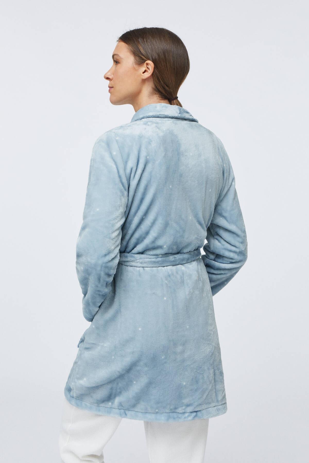 Oysho Kadın Mavi Puantiye Desenli Yumuşak Mavi Sabahlık 4