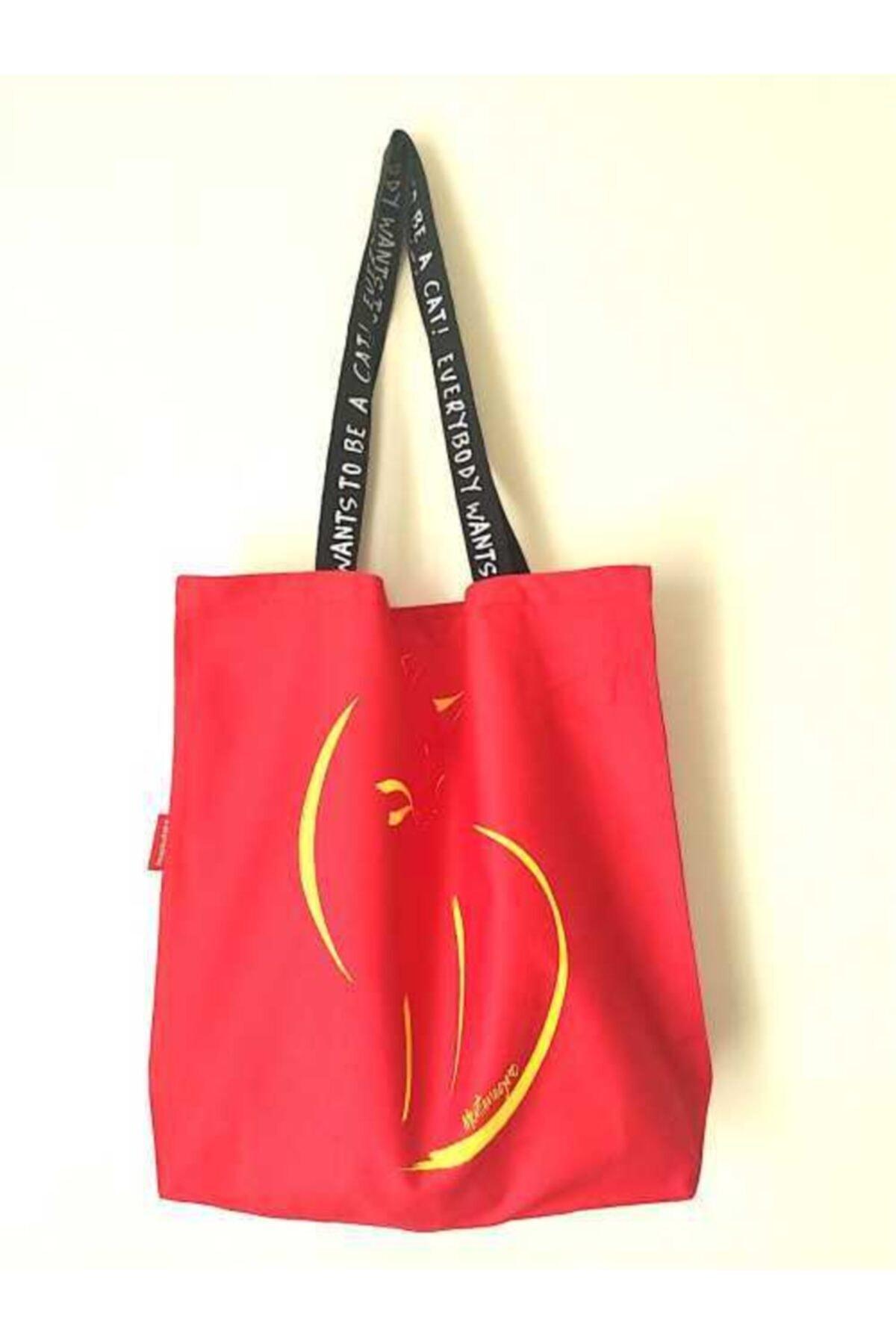 Kırmızı Baskılı Bez Çanta Plaj Ve Alışverişe Uygun Günlük Kullanım İçindir