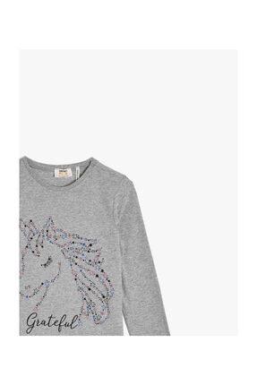 Koton Gri Kız Çocuk T-Shirt 2
