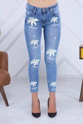 PERİSCOPE Kadın Mavi Ön Baskı Jeans 1