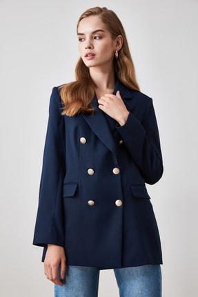 TRENDYOLMİLLA Lacivert Düğme Detaylı Blazer Ceket TWOSS20CE0024 1