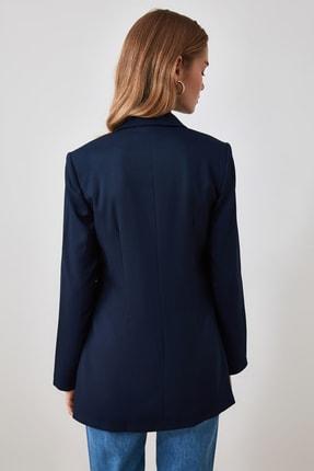 TRENDYOLMİLLA Lacivert Düğme Detaylı Blazer Ceket TWOSS20CE0024 4