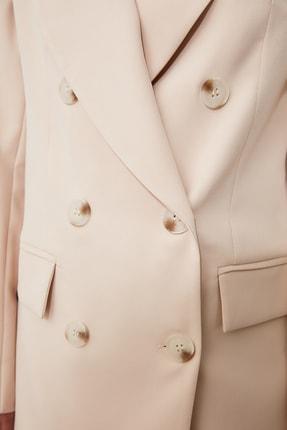 TRENDYOLMİLLA Bej Düğmeli Blazer Ceket TWOAW20CE0130 4