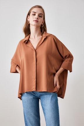 TRENDYOLMİLLA Camel Oversize Gömlek TWOSS20GO0200 2