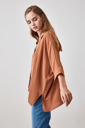 TRENDYOLMİLLA Camel Oversize Gömlek TWOSS20GO0200 3