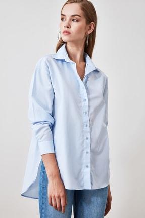 TRENDYOLMİLLA Mavi Loose Fit Gömlek TWOAW20GO0107 0