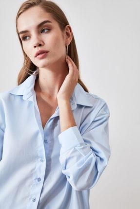 TRENDYOLMİLLA Mavi Loose Fit Gömlek TWOAW20GO0107 1
