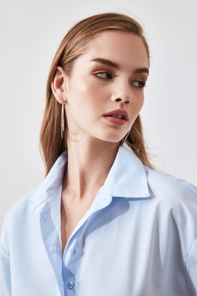 TRENDYOLMİLLA Mavi Loose Fit Gömlek TWOAW20GO0107 2