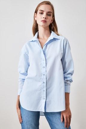 TRENDYOLMİLLA Mavi Loose Fit Gömlek TWOAW20GO0107 3
