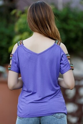 Giyimhane Omuzu Aksesuarlı Bluz Lila - 1073.1095. 3