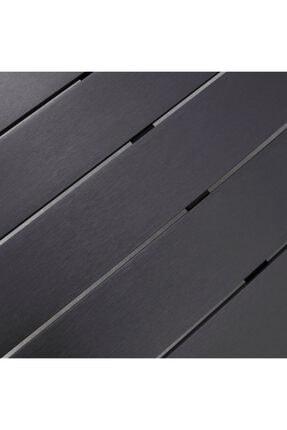 Zenio Bahçe Balkon Teras Metal Ağaç Masa Siyah 150x80 1